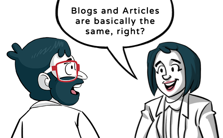 The content agency was asked to explain the difference between articles and blogs