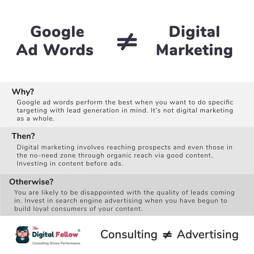 Google adwords is not equal Digital Marketing