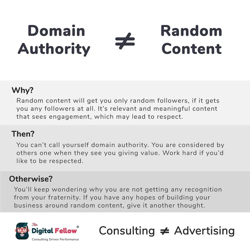 Domain Authority is not equal to Random Content