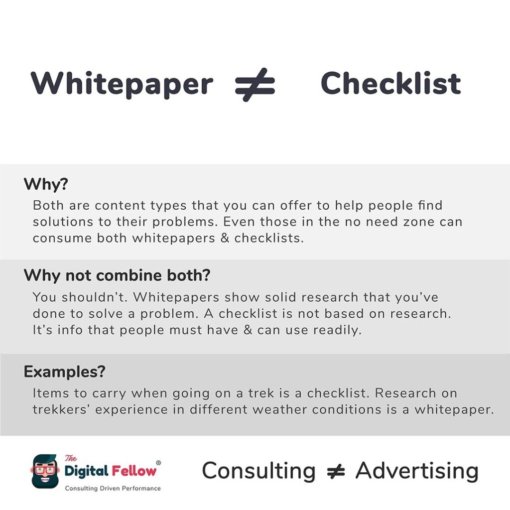 Whitepaper is not equal to Checklist