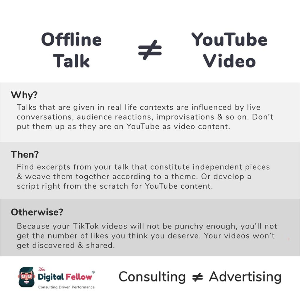 Offline Talk is not equal to Youtube Video