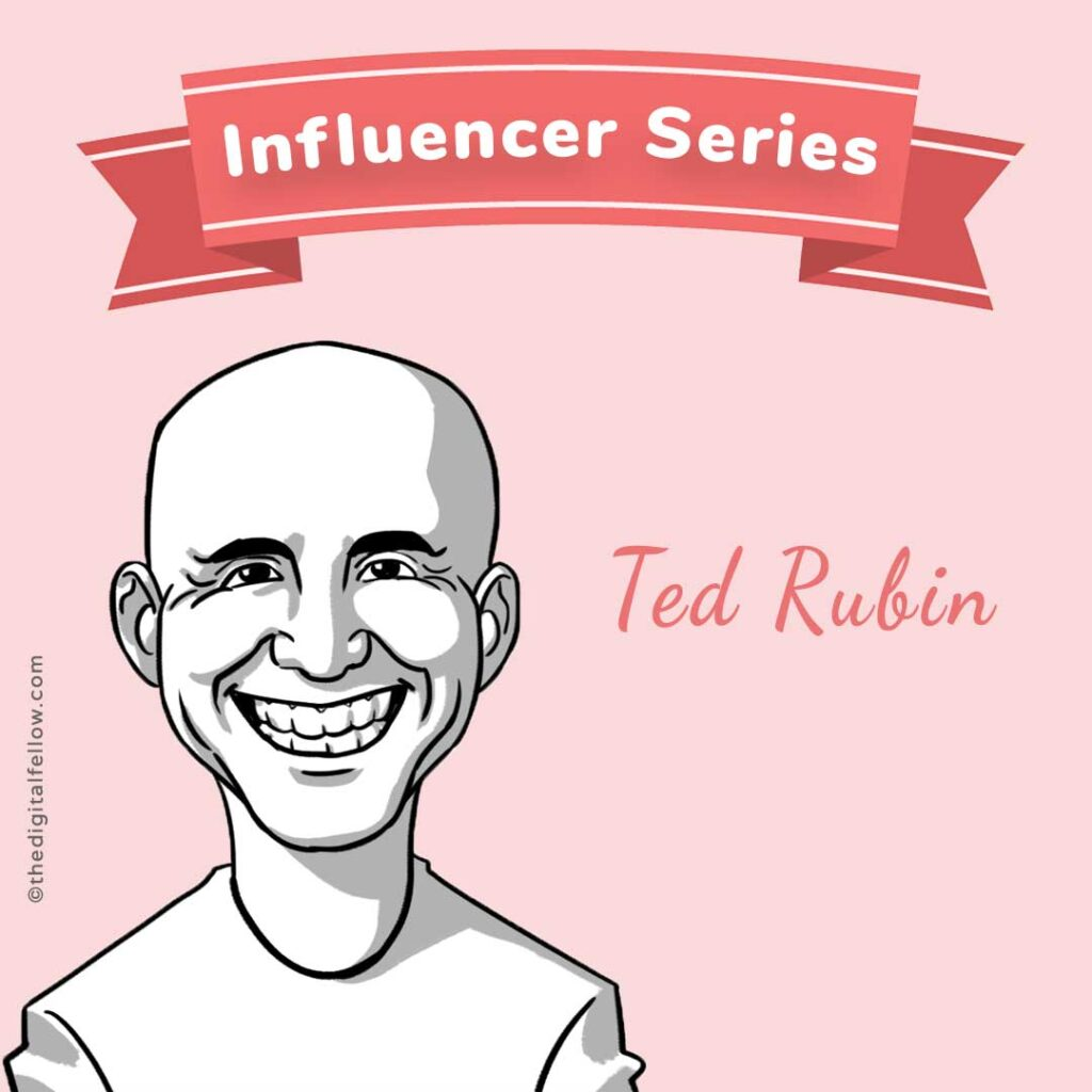 this is a caricature of Ted-Rubin curated by the digital fellow