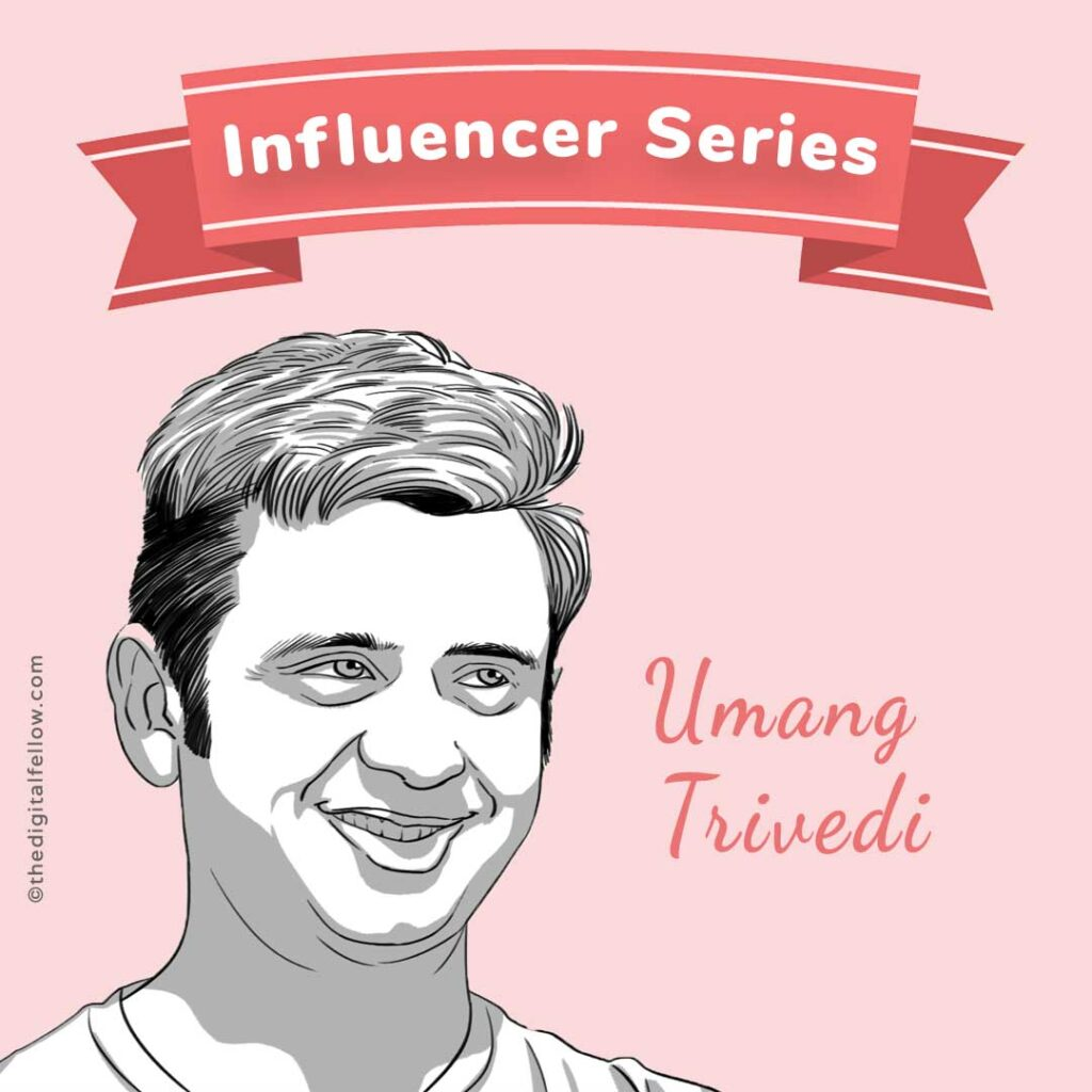 this is a caricature of Umang-Trivedi curated by the digital fellow