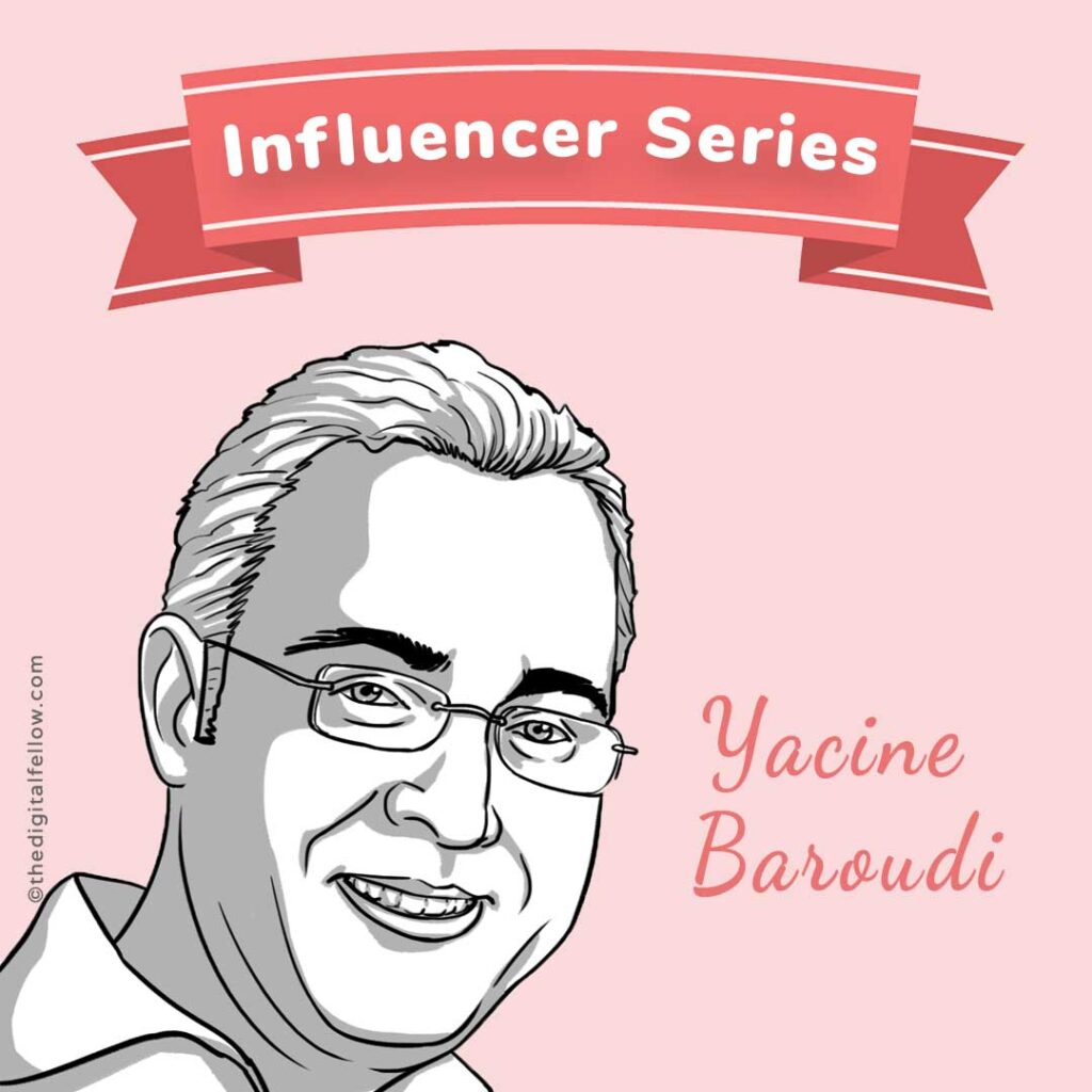 this is a caricature of Yacine-Baroudi curated by the digital fellow